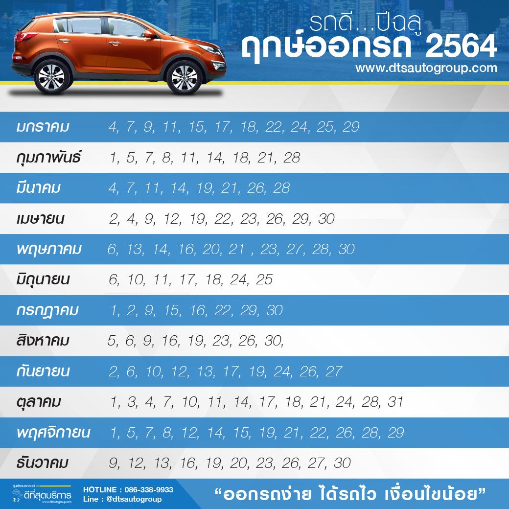 ฤกษ์ออกรถ ปี2564